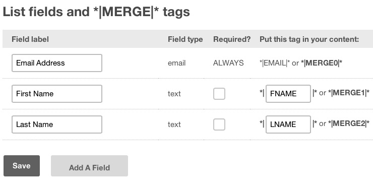 MailChimp Fields