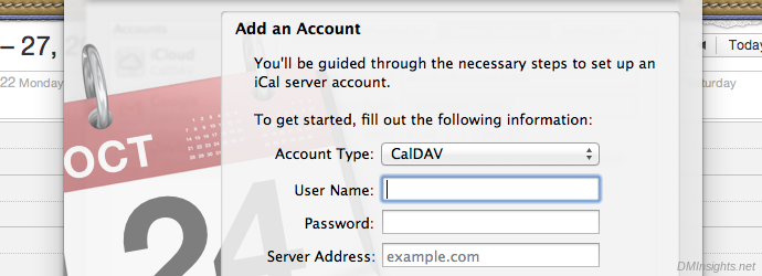 Add an account in iCal